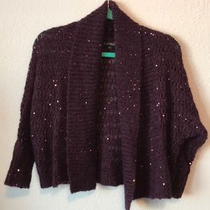 Express purple sequined shrug sweater